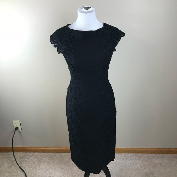 84d36a81 Maggy London Dresses | Black Lace Detail Crepe Sheath Dress | Poshmark